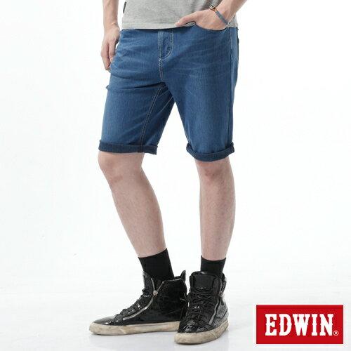 【1290元優惠↘】【大尺碼】EDWIN JERSEYS迦績涼爽工作短褲-男-石洗藍 0