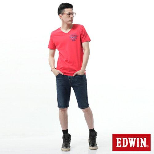 【週年慶。8折優惠↘】【大尺碼】EDWIN JERSEYS迦績黑腰頭牛仔短褲-男-酵洗藍 2