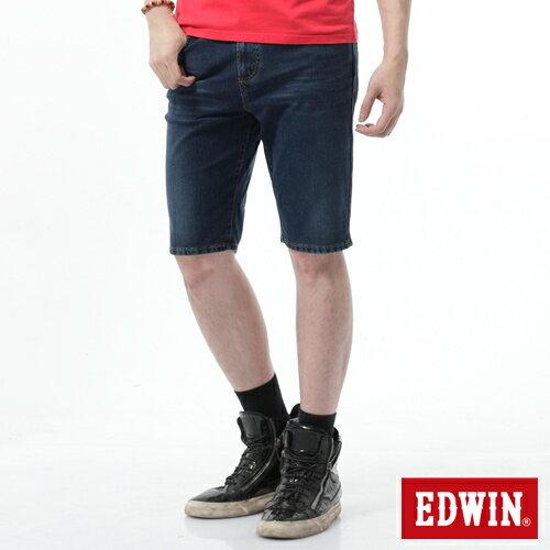 【週年慶。8折優惠↘】【大尺碼】EDWIN JERSEYS迦績黑腰頭牛仔短褲-男-酵洗藍 0