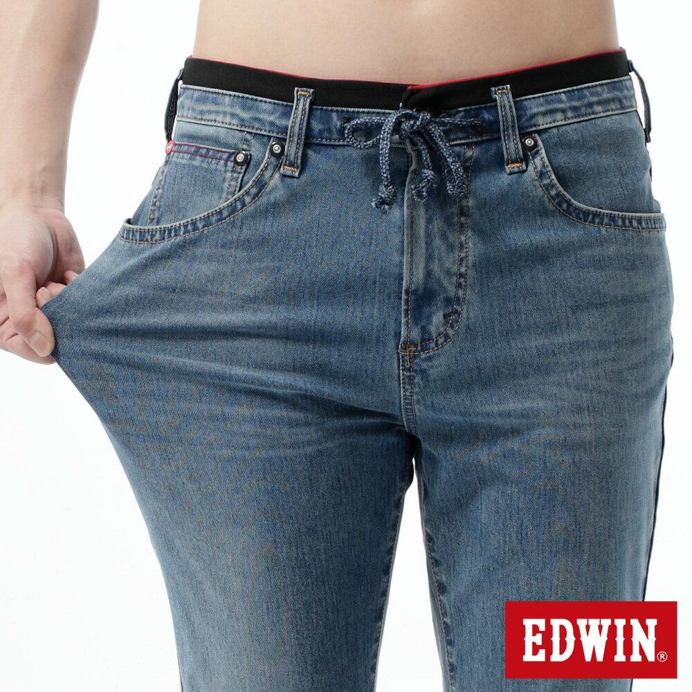 【9折優惠↘】【大尺碼】EDWIN JERSEYS迦績黑腰頭牛仔短褲-男-拔洗藍 1