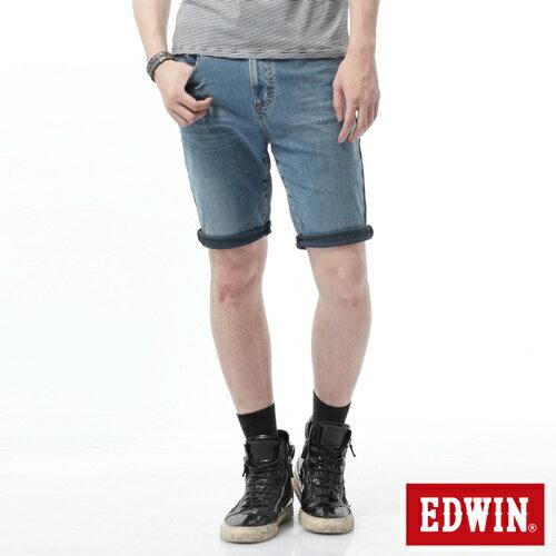 【9折優惠↘】【大尺碼】EDWIN JERSEYS迦績黑腰頭牛仔短褲-男-拔洗藍 0