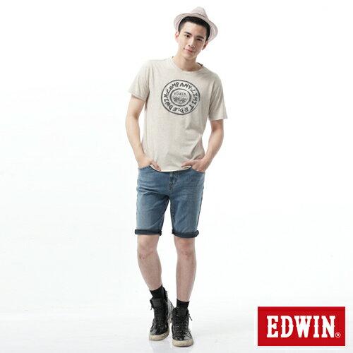 【9折優惠↘】【大尺碼】EDWIN JERSEYS迦績黑腰頭牛仔短褲-男-拔洗藍 2