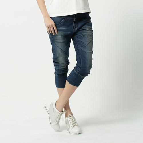 【1290元優惠↘】EDWIN JERSEYS 迦績圓織剪接 七分牛仔褲-女款 原藍磨 0