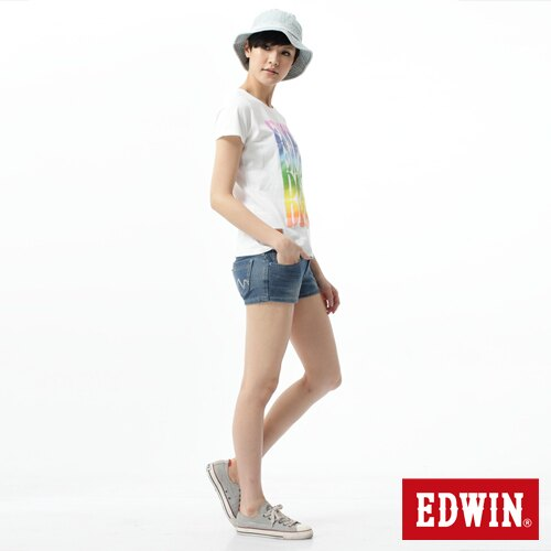 【1290元優惠↘】EDWIN JERSEYS迦績涼感牛仔超短褲-女-石洗藍 2