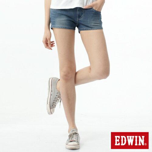 【1290元優惠↘】EDWIN JERSEYS迦績涼感牛仔超短褲-女-石洗藍 0