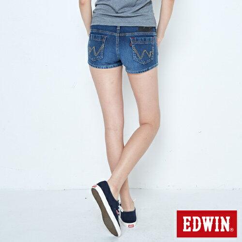 【週年慶。8折優惠↘】EDWIN JERSEYS迦績黑腰頭牛仔超短褲-女-拔洗藍 1