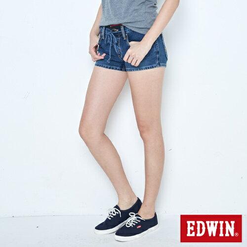 【週年慶。8折優惠↘】EDWIN JERSEYS迦績黑腰頭牛仔超短褲-女-拔洗藍 2