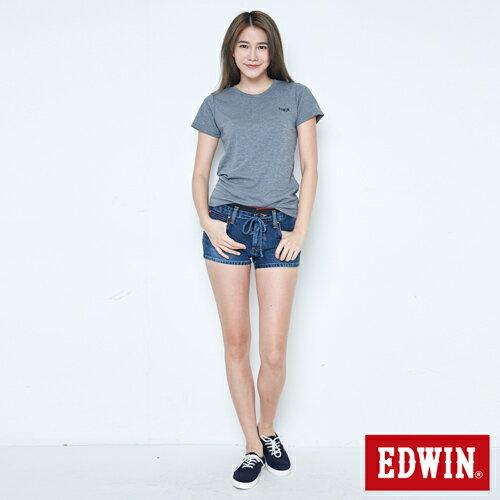 【9折優惠↘】EDWIN JERSEYS迦績黑腰頭牛仔超短褲-女-拔洗藍 3