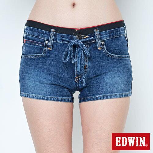 【週年慶。8折優惠↘】EDWIN JERSEYS迦績黑腰頭牛仔超短褲-女-拔洗藍 4