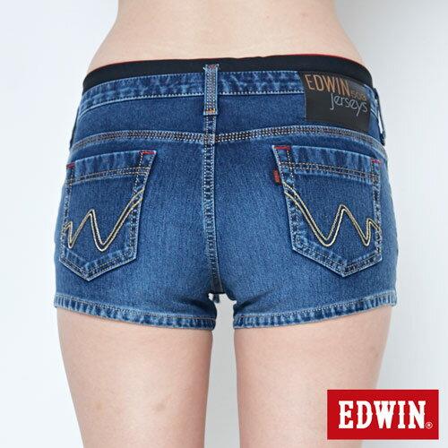 【9折優惠↘】EDWIN JERSEYS迦績黑腰頭牛仔超短褲-女-拔洗藍 5