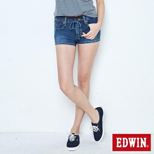 【週年慶。8折優惠↘】EDWIN JERSEYS迦績黑腰頭牛仔超短褲-女-拔洗藍 0