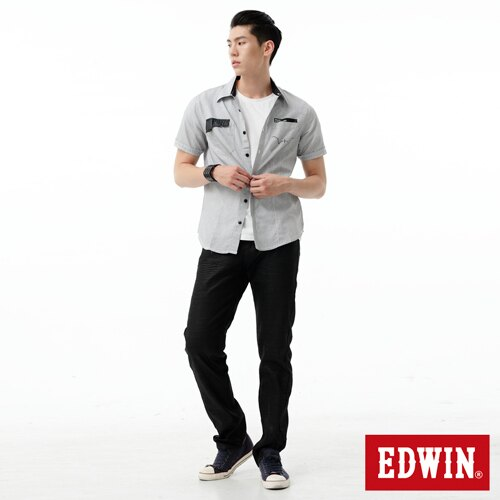 【獨家款式。990元特惠↘】EDWIN E-FUNCTION 光面加工 袋蓋窄管直筒褲-男款 牛仔黑 2