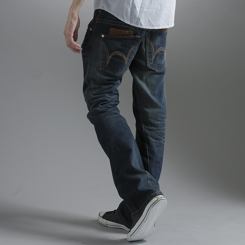 【990元優惠↘】EDWIN BLUE TRIP 牛皮袋蓋靴型牛仔褲-男款-中古藍 0