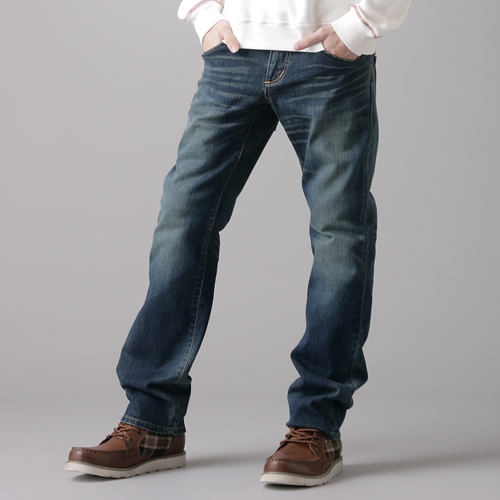 【1290元優惠↘】EDWIN BLUE TRIP 牛皮袋蓋牛仔褲-男款 中古藍 0