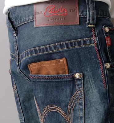 【1290元優惠↘】EDWIN BLUE TRIP 牛皮袋蓋牛仔褲-男款 中古藍 2