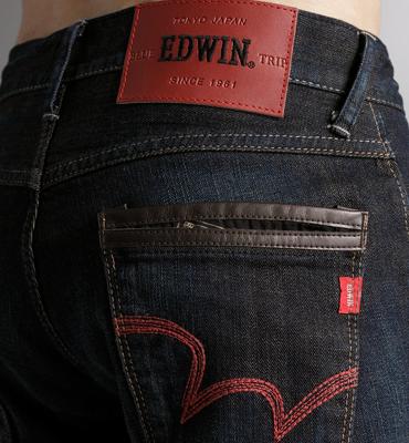 【週年慶。8折優惠↘】EDWIN EDGE LINE 雙口袋窄管褲 - 男款 原藍磨【單筆2000結帳輸入優惠券代碼161028。現折240元】 1