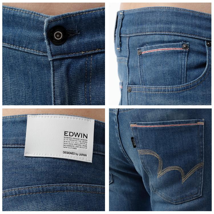 【週年慶。8折優惠↘】EDWIN EDGE COOL 口袋繡邊窄直筒牛仔褲-男款 石洗藍 1