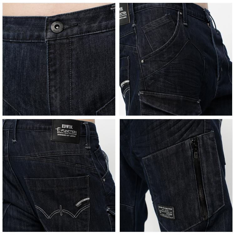 【5折優惠↘】EDWIN E-FUNCTION  貼袋剪裁 機能3D牛仔褲-男款 原藍色 1