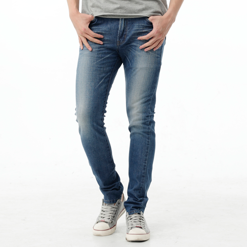 【9折優惠↘】EDWIN EDGE LINE 假袋蓋合身窄管牛仔褲-男款 石洗藍 0