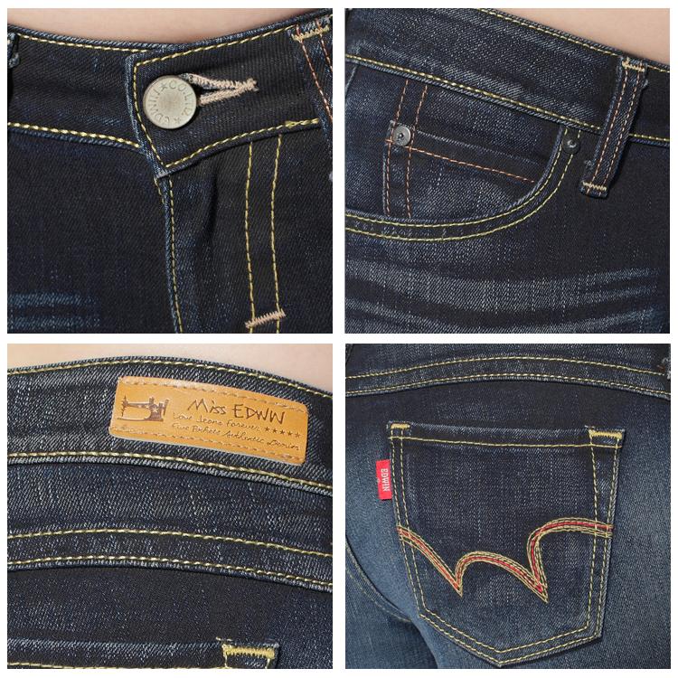 【990元優惠↘】EDWIN Miss EDEG LINE 552 舒適牛仔小直筒褲-女款 原藍磨 1