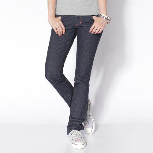 【990元優惠↘】Miss EDWIN EDGE LINE 袋蓋小直筒牛仔褲-女款 原藍色 0