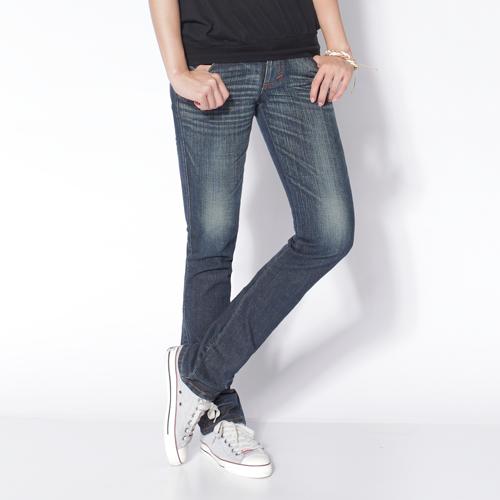 【SUPER SALE。熱銷丹寧888↘】Miss EDWIN EDGE LINE袋蓋小直筒牛仔褲-女款 中古藍 0