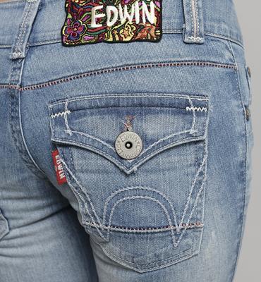 【990元優惠↘】Miss EDWIN 袋蓋靴型牛仔褲 女款 漂淺藍 2
