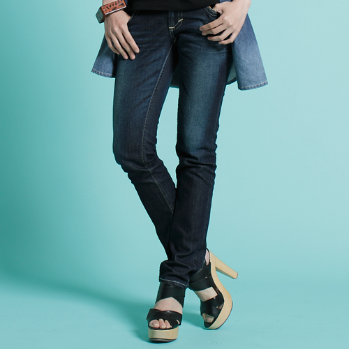 【5折優惠↘】Miss EDWIN BLUE TRIP 配皮窄直長褲-女款 酵洗藍 0