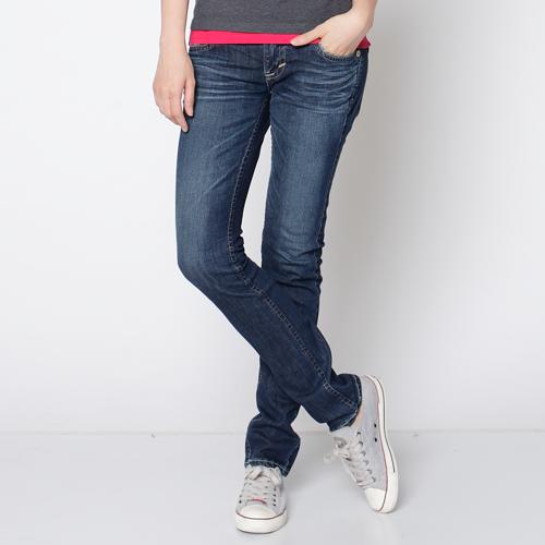 【5折優惠↘】Miss EDWIN BLUE TRIP 配皮窄直長褲-女款 石洗藍 0