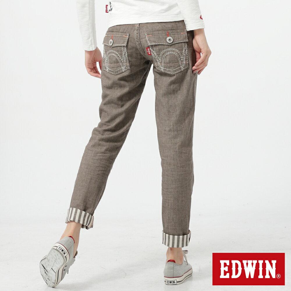 【5折優惠↘】Miss EDWIN BLUE TRIP袋蓋反折條紋休閒褲-咖啡 1