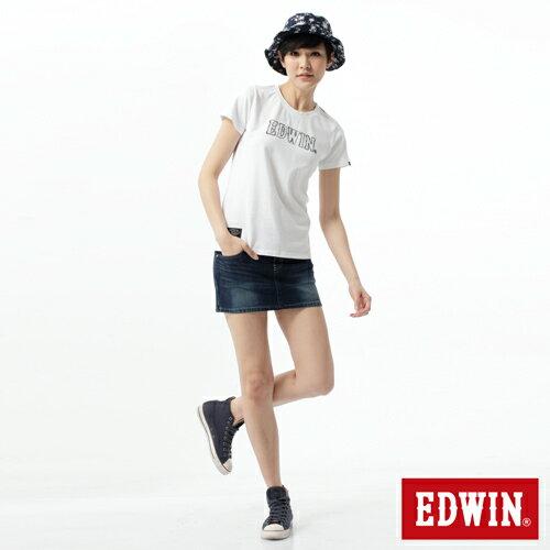 【週年慶。8折優惠↘】EDWIN JERSEYS迦績黑腰頭牛仔超短裙-女-酵洗藍 2