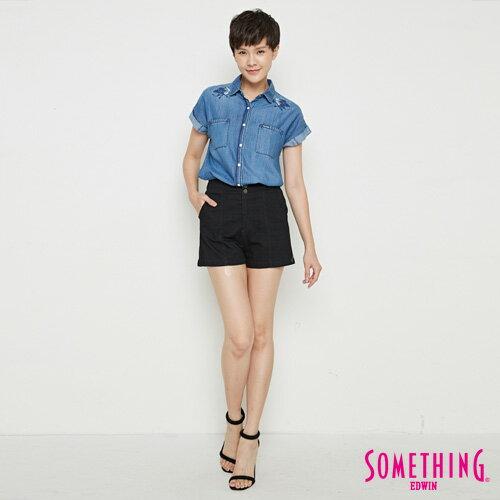 【9折優惠↘】SOMETHING 玫瑰刺繡 短袖牛仔襯衫-女款 中古藍 3