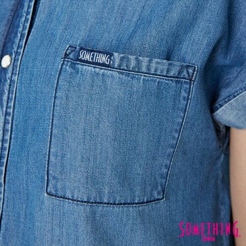 【週年慶。8折優惠↘】SOMETHING 玫瑰刺繡 短袖牛仔襯衫-女款 中古藍 4
