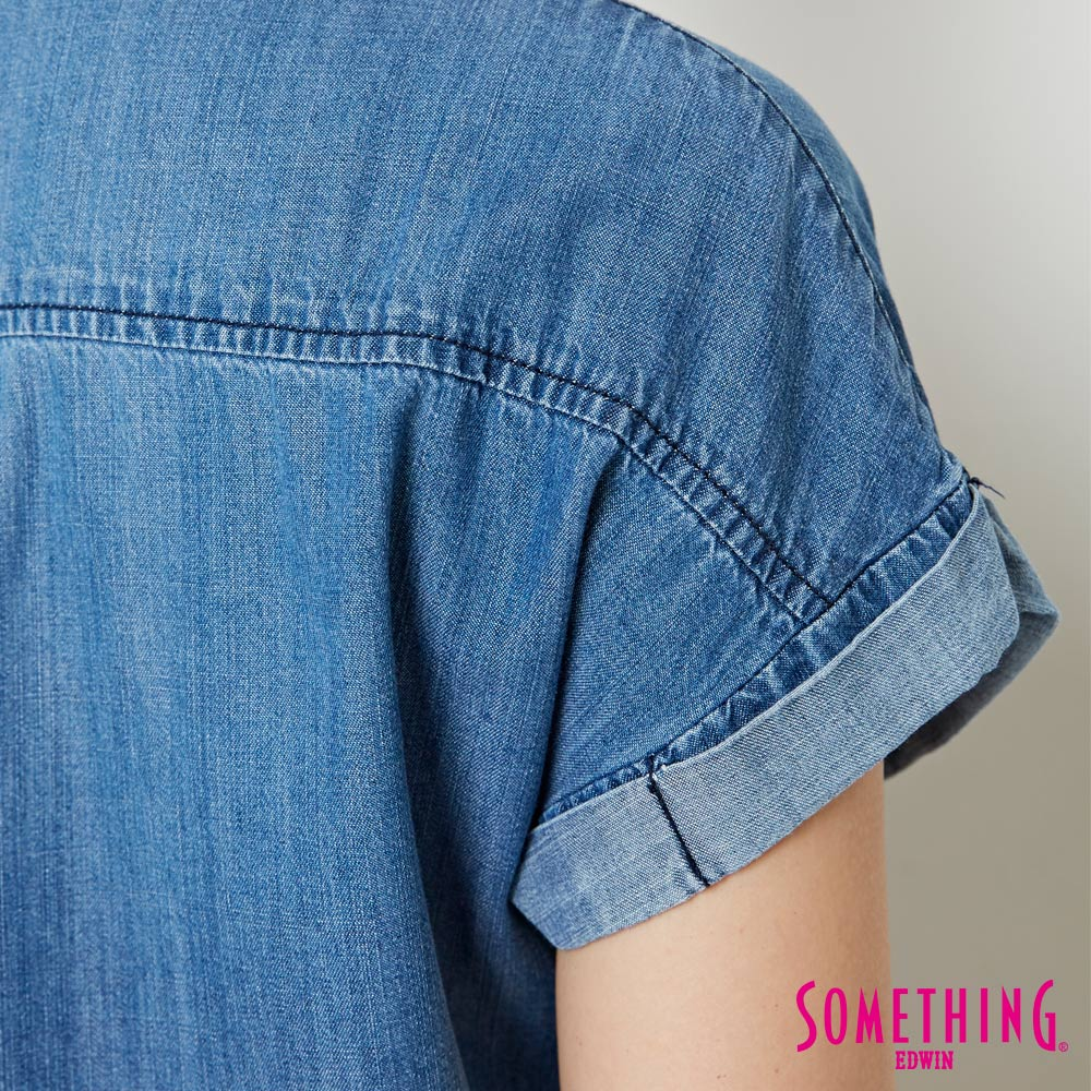 【週年慶。8折優惠↘】SOMETHING 玫瑰刺繡 短袖牛仔襯衫-女款 中古藍 5