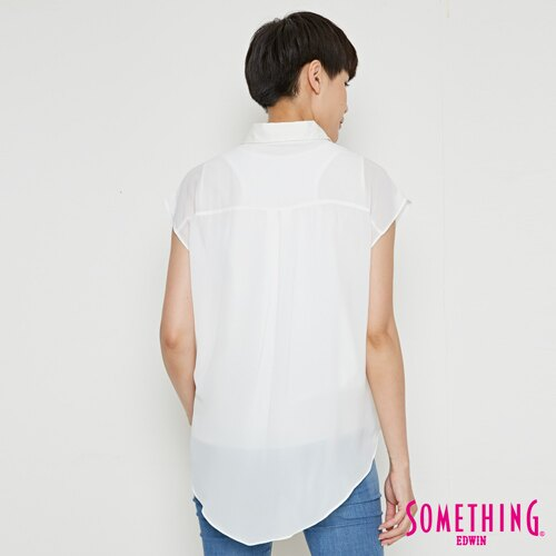 【9折優惠↘】SOMETHING 異素材雙層短袖襯衫-女款 白色 1