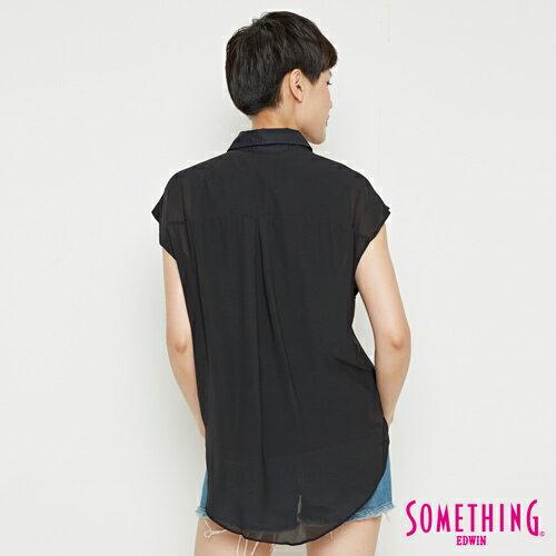 【9折優惠↘】SOMETHING 異素材雙層 短袖襯衫-女款 黑色 1