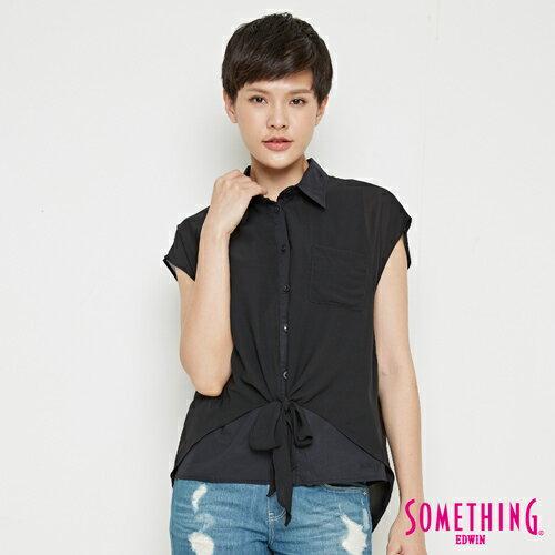 【9折優惠↘】SOMETHING 異素材雙層 短袖襯衫-女款 黑色 0