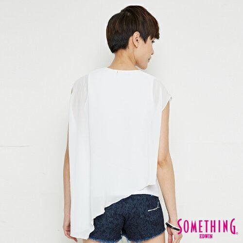 【週年慶。8折優惠↘】SOMETHING 異素材雙層 不規則T恤-女款 白色 1
