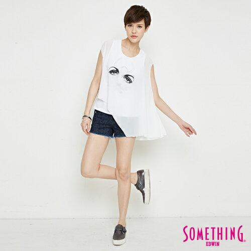 【週年慶。8折優惠↘】SOMETHING 異素材雙層 不規則T恤-女款 白色 3