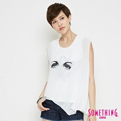 【週年慶。8折優惠↘】SOMETHING 異素材雙層 不規則T恤-女款 白色 0