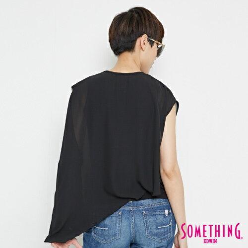 【9折優惠↘】SOMETHING 異素材雙層 不規則T恤-女款 黑色 1