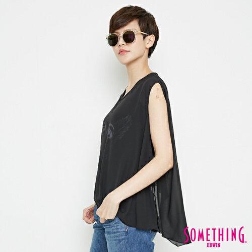 【9折優惠↘】SOMETHING 異素材雙層 不規則T恤-女款 黑色 2