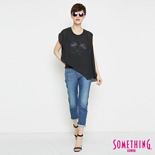 【9折優惠↘】SOMETHING 異素材雙層 不規則T恤-女款 黑色 3