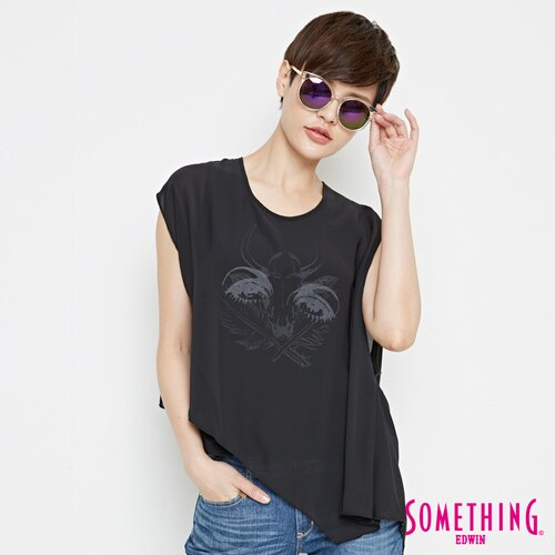 【9折優惠↘】SOMETHING 異素材雙層 不規則T恤-女款 黑色 0