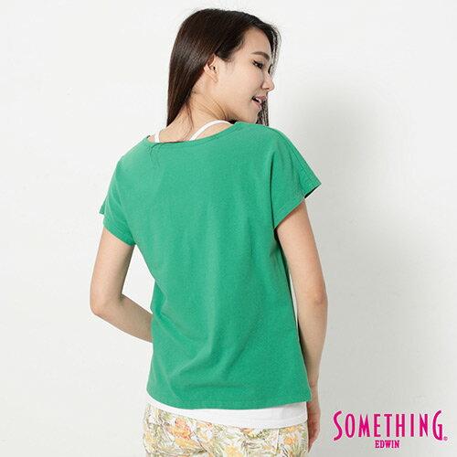 【9折優惠↘】SOMETHING 趣味巴黎貼標 連袖T恤-女款 綠色 1