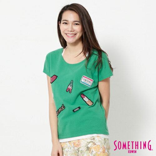 【9折優惠↘】SOMETHING 趣味巴黎貼標 連袖T恤-女款 綠色 2
