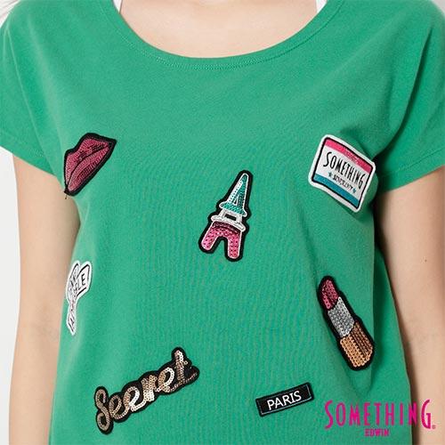 【9折優惠↘】SOMETHING 趣味巴黎貼標 連袖T恤-女款 綠色 4
