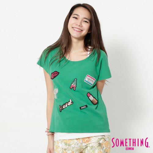【9折優惠↘】SOMETHING 趣味巴黎貼標 連袖T恤-女款 綠色 0