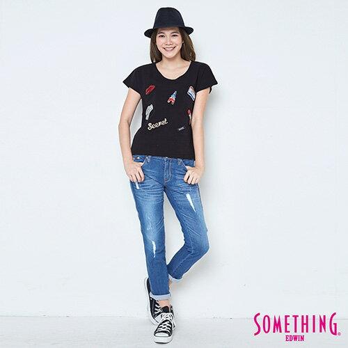 【週年慶。8折優惠↘】SOMETHING 趣味巴黎貼標 連袖T恤-女款 黑色 3