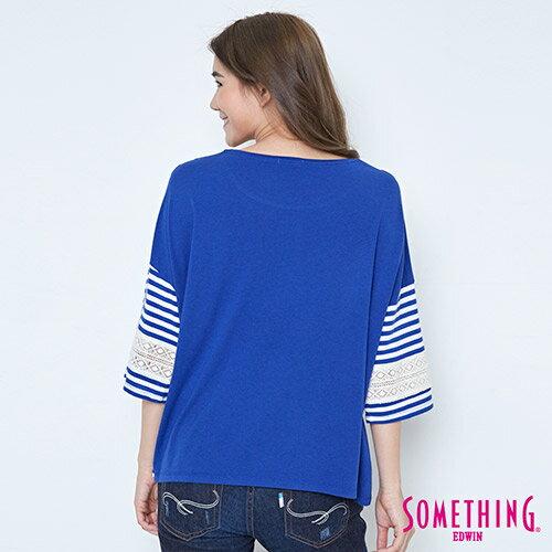 【週年慶。8折優惠↘】SOMETHING 童趣貼標 蕾絲橫條T恤 -女款 藍色 1